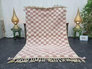 Moroccan Handmade Beni Ourain Rug 4'x6' Berber Checkered White Pink Wool Carpet