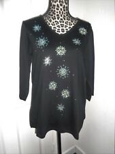 Quacker Factory Black Rhinestones Studs Embellished Cotton Blend Top Size M NWT