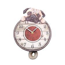 Nemesis Now Puggin' Tickin' Puppy Dog Pendulum Tail Animal Wall Clock