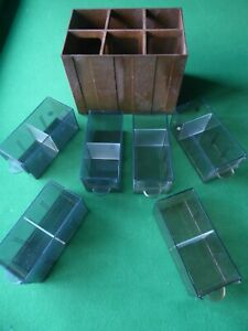 FIVE VINTAGE BROWN STACKABLE 35MM SLIDE STORAGE BOXES