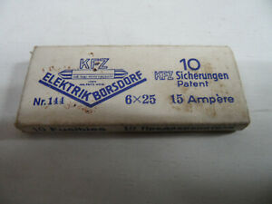 DDR Kfz Sicherungen Nr.144 6x25 15A Elektrik Borsdorf IFA F8 F9 Framo B1000
