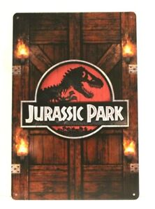 Jurassic Park Tin Metal Sign Vintage Style Movie Poster Ad Home Theater Man Cave
