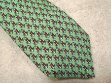 Vineyard Vines Anchor Ribbon Pattern Print Silk Tie NWT $85 Made in USA Green