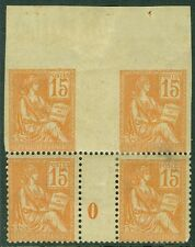 FRANCE : 1900. Yvert #117 Incredible Block of 4 with bottom pair 'O' Millesime