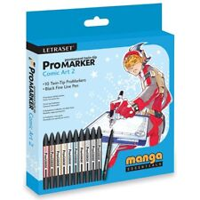 LETRASET ProMarker Comic Art 2 Permanent Twin Tip Marker Pack of 10 + Fine Line