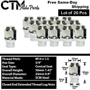 20Pc CHROME M14x1.5 EXTENDED THREAD ET STYLE LUG NUT FIT FORD GMC RAM&MORE