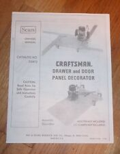 SEARS CRAFTSMAN ROUTER DRAWER & DOOR PANEL DECORATOR OWNERS MANUAL 25472