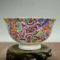 "5.1"" Collect Chinese Porcelain Draw Gold The Five Colours Thousand Flower Bowl"