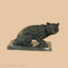 Stunning Brass Fox on Granite Base Decorative Statue Figurine Centerpiece