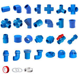 Blue PVC 50mm ID Pressure Pipe Fittings Metric Solvent Weld Various Parts
