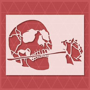 Rose Skull Stencil - Reusable & Durable - Flame