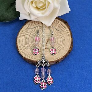 Silver Plated Pink 4 Leaf Lucky Clover Necklace & Earring Set With Red Beads