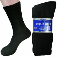 6 Pair Black Diabetic Crew Circulatory Socks Health Mens Cotton 9-11 10-13 13-15