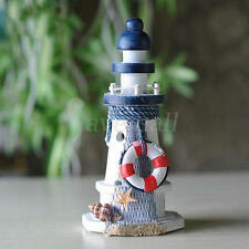 Nautical Decor Wooden Lighthouse/Light Tower Starfish Shells Red Lifebouy Hot 1x