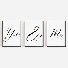 Set of 3 You & Me Love Bed Black White Bedroom Home Poster Print Wall Art Decor