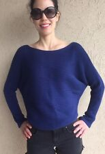 Vince Blue Cotton Sweater With Dolman Sleeves
