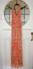 White suede orange paisley  maxi dress - size XS