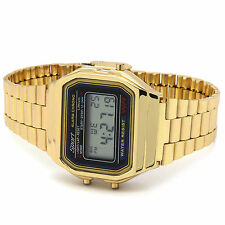 Gold Sport  Alarm Gold metal Band LED Digital Watch Water Resistant LCD Chrono