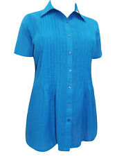 Woman Within BLUE Waffle Stripe Short Sleeve Shirt Size 18/20 - 46/48 (1x - 6x)