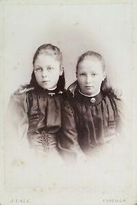 Antique Cabinet Card - Two Little Girls. Fareham Studio