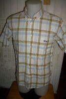 Chemise  coton bleu ciel rayé marron SERGE BLANCO  T.m ou 40 manches courtes