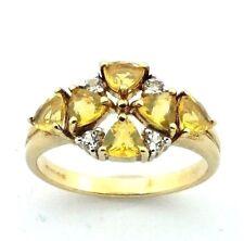Mujer 9ct / 9ct Anillo de oro Set con amarillo + Transparente Piedras circonita,