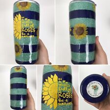 Custom Tumbler Be A Sunflower 20 Oz Glitter Striped Navy Blue Mint