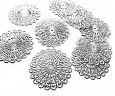 10 x Silver Plate Circle Filigree Stamped Embellishment Metal Charm Decoration