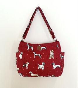 Dog Print Red Fabric, Messenger Cross bag, zipped Shoulder bag, handmade