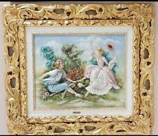 Capodimonte porcelain Painting Relief bas-relief. L' swing