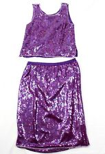 80's Jewel Queen Womens Skirt Two Piece Sequinned Purple Beaded Silk Size S
