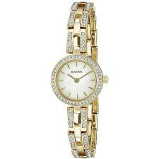 Bulova Women's 98L213 Crystals Gold Tone Stainless Steel White MOP Dial Watch