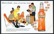 1960 Orange Crush soda bottle photo young friends party art vintage print ad