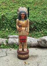John Gallagher Carved Wooden Cigar Store Indian Buffalo 4 ft.Tall Knife Statue