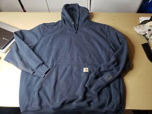 CARHARTT 100615 BLK HEAVYWEIGHT RAIN DEFENDER Pullover Hoodie XL Distressed