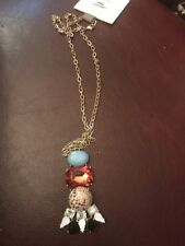 NWT Anthropologie Mixed Stone Gem Ladder Tiered Pendent Necklace Statement