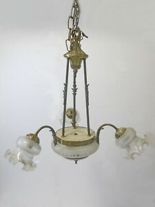 Antique French bronze & glass chandelier # 10397