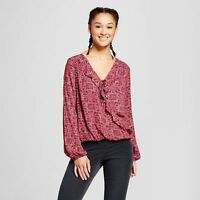 Women Printed Long Sleeve V-Neck Top - Mossimo