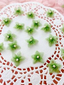 Tiny Beaded Flowers Organza Green Fabric Flower Craft Sewing Card Making Bows