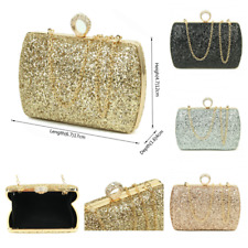 2a0ddc3bb8 Womens Glitter Hard Case Clutch Wedding Girl Ring Clasp Prom Women s  Evening Bag