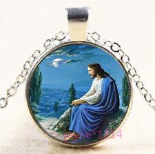 Saint Jesus Cabochon Silver/Bronze/Black/Gold Glass Chain Pendant Necklace #6650
