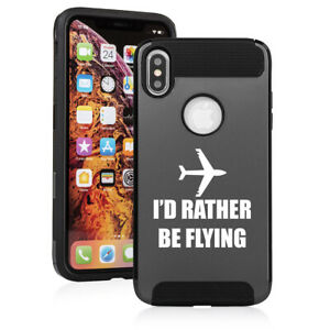 For Apple iPhone X XS MAX XR Shockproof Hard Case I'd Rather Be Flying Airplane