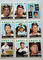 Lot of 9 1964 Topps Los angeles Angels  vintage baseball cards Albie Pearson