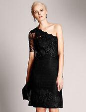 New M&S AUTOGRAPH UK 8 Black Floral Lace One-Shoulder Cocktail Party Dress RARE!