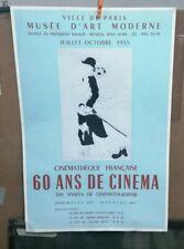 AFFICHE ORIGINALE ANCIENNE 60 ANS DE CINEMA  MARC CHAGALL  1955 CHARLIE CHAPLIN