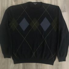 Nautica Mens Large Blue Olive Argyle Long Sleeve Sweater Size Large