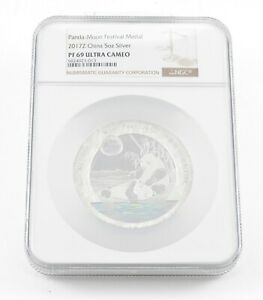 PF69 UCAM 2017-Z China 5 Oz. Silver Panda-Moon Festival Medal - Graded NGC *004