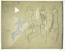 Krief Bruno 1980 Four Figures Vertical Print Original Aquatint Signed