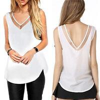 Casual Loose V-Neck Vest Tops Sleeveless Woman Chiffon Sheer Tank T-Shirt Blouse
