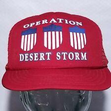 Vintage Operation Desert Storm 3 Shield Champ Red Snapback Hat Mesh Hat Cap War